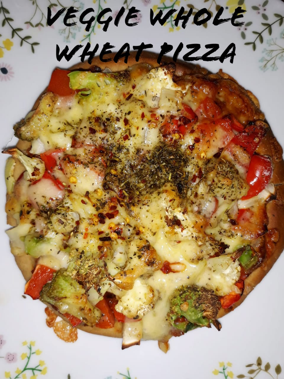 Veggie Whole Wheat Pizza | Healthy Veg Wheat Pizza