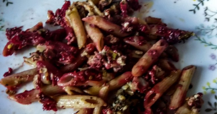 Baked Penne Pasta with Beetroot Sauce