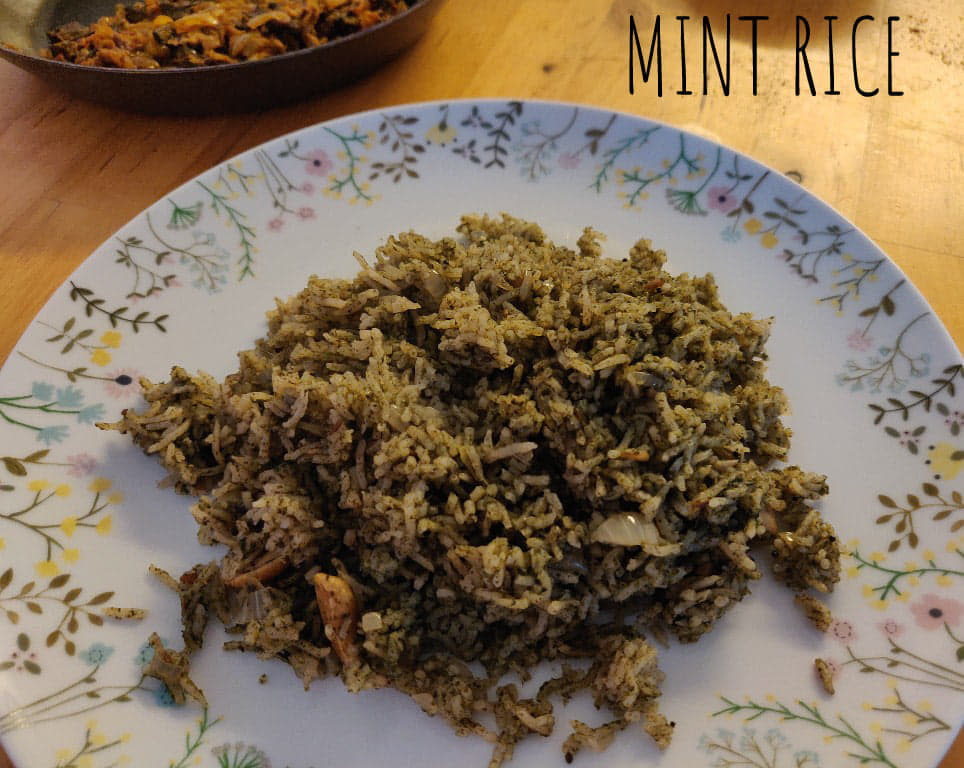 Mint Rice   Pudina Rice   Mint Pulao