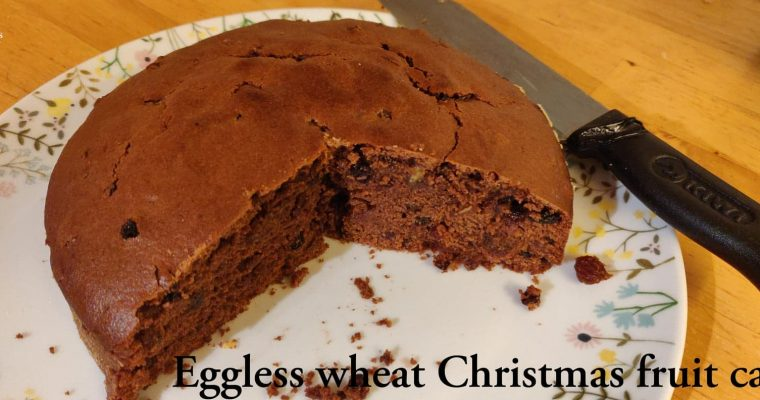 Eggless Wheat Christmas fruit cake