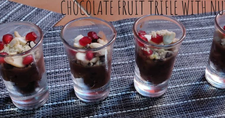 Chocolate fruit Trifle with nuts