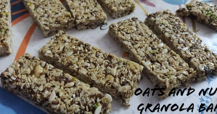 Healthy Granola Bars recipe | Homemade Granola with oats, nuts and seeds