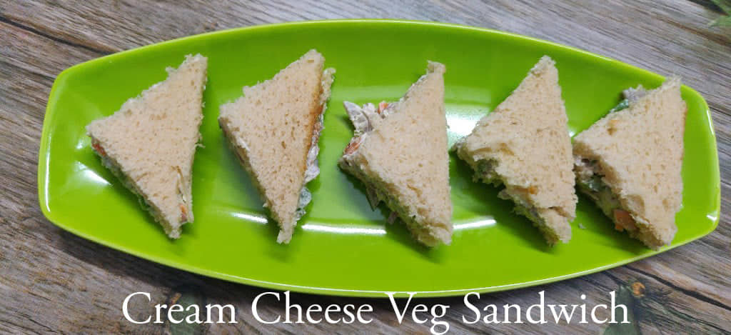 Cream Cheese Sandwich Recipe | Cream Cheese Veg Sandwich