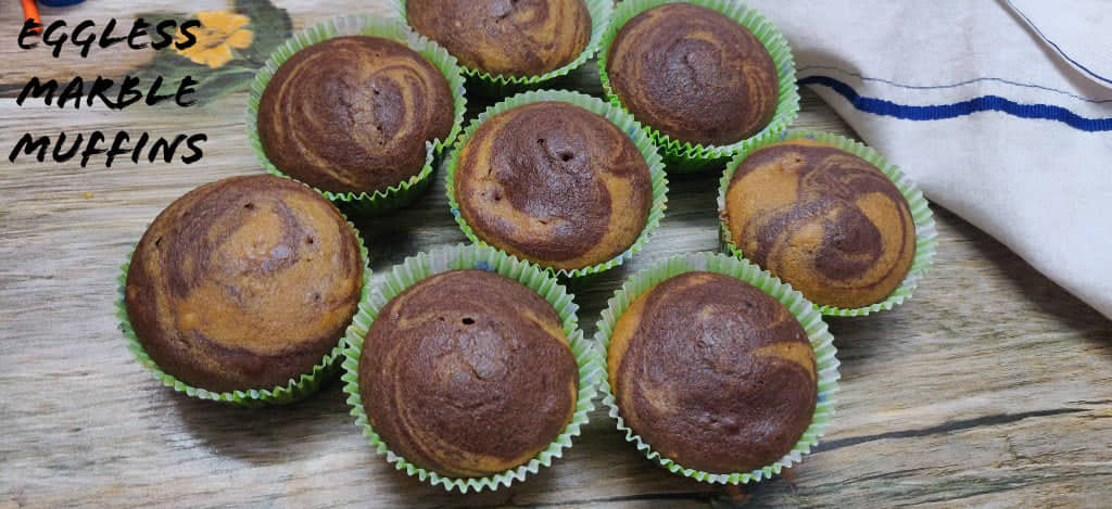 Eggless Marble Muffins Recipe | Whole Wheat Choco Vanilla Swirl Muffins