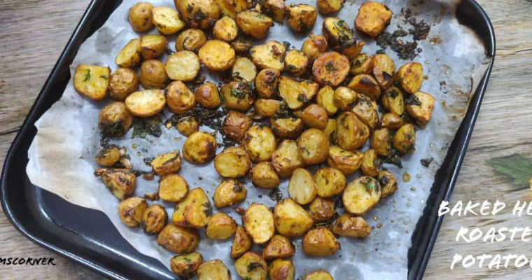 Baked Herb Roasted Potatoes recipe | Roasted potatoes with herbs