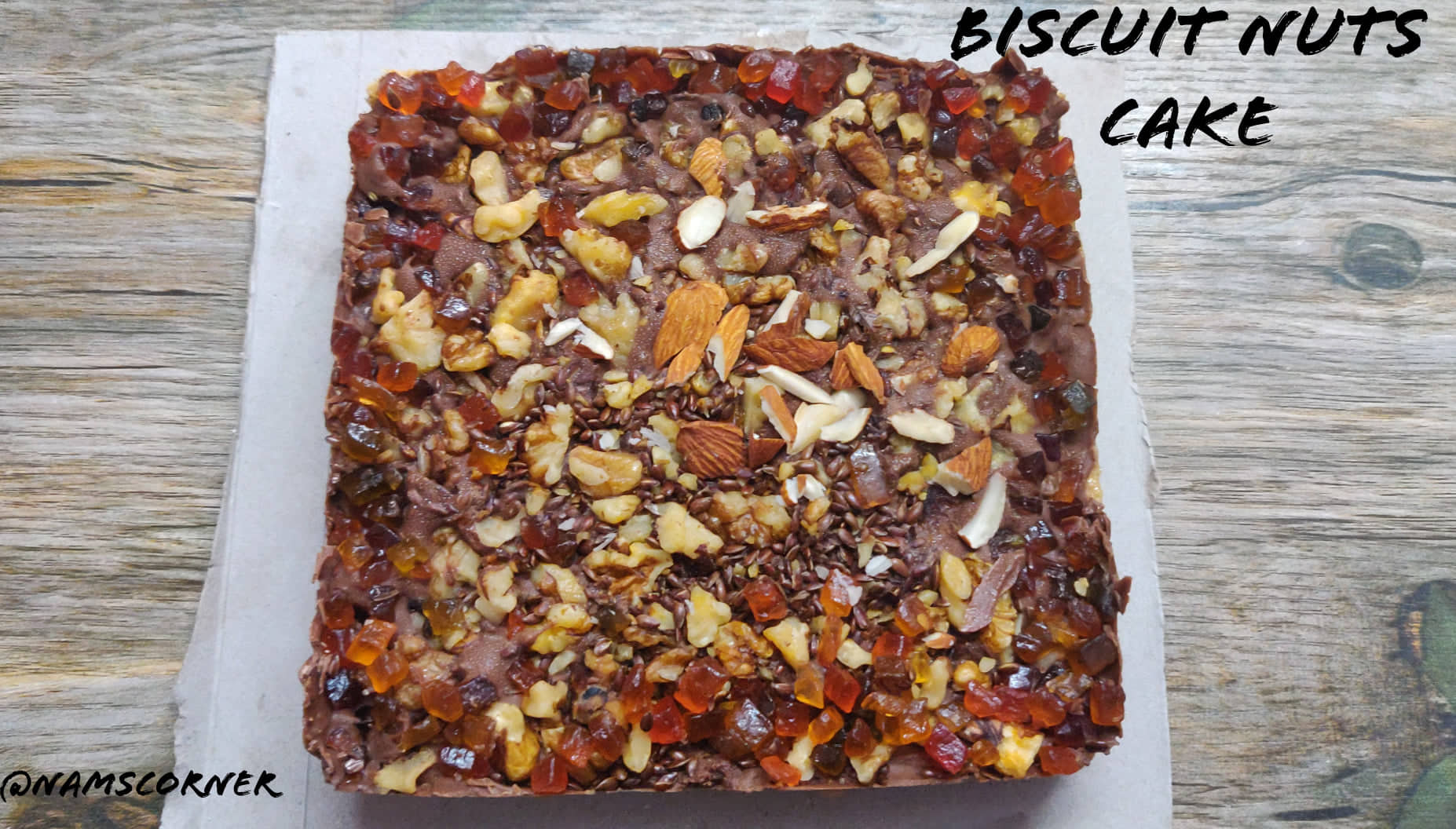 Biscuit Nuts Cake Recipe | Quick No Bake Biscuit Nuts Cake