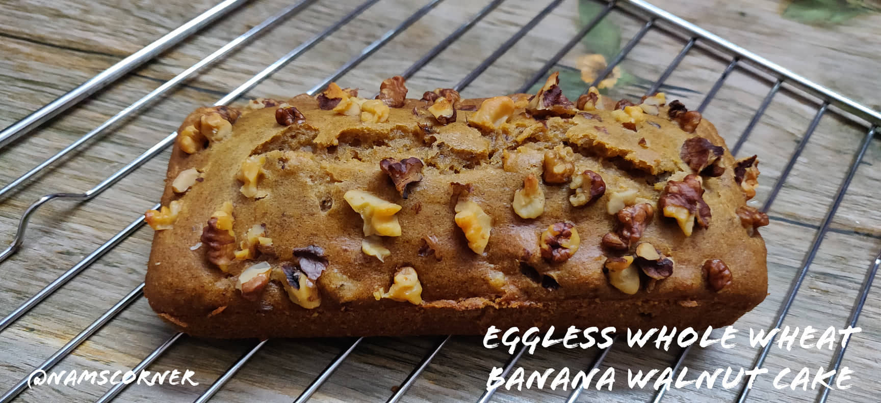 Whole Wheat Banana Walnut Cake Recipe | Eggless Banana Walnut Cake