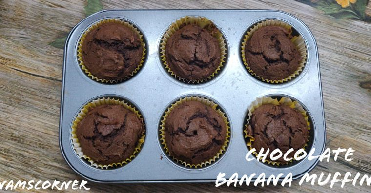 Chocolate Banana Muffins recipe | Whole wheat chocolate banana muffins