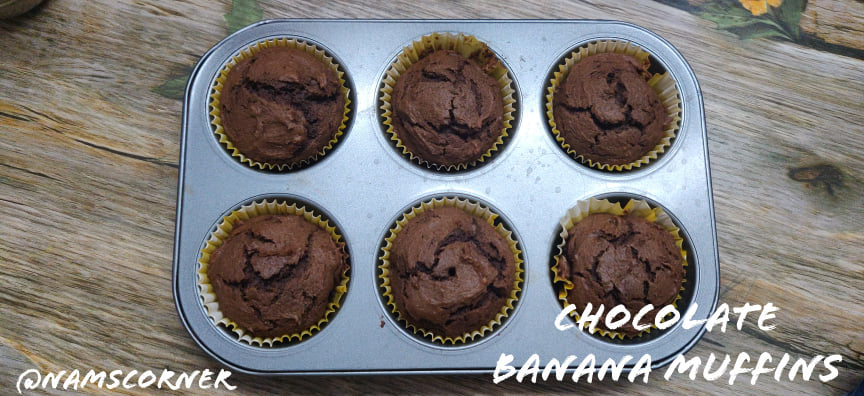 Chocolate Banana Muffins recipe | Whole wheat chocolate banana muffins