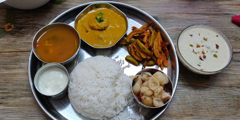 Veg Lunch Menu 1 | Moong dal Karara, Kovakkai fry, pasta salad, Bottle Gourd Basundi
