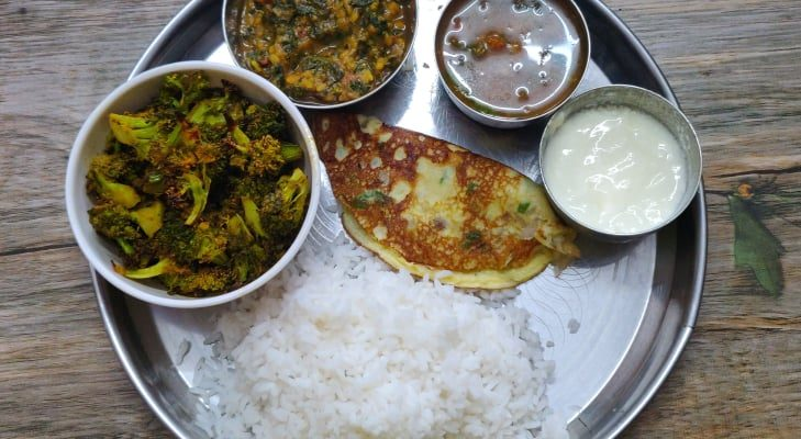Veg Lunch Menu 2 | Keerai Kootu, Baked Broccoli, Omelette