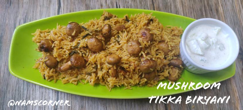 Mushroom Tikka Biryani Recipe | Easy and flavorful Mushroom Tikka Biryani