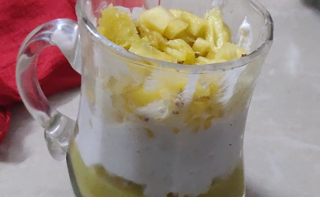Pineapple Cream Dessert Recipe | Pineapple whipped cream