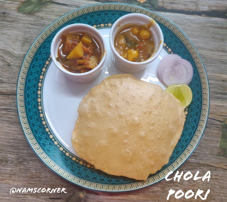 Chola Poori Recipe   Chola Puri Recipe   South Indian Bhature recipe