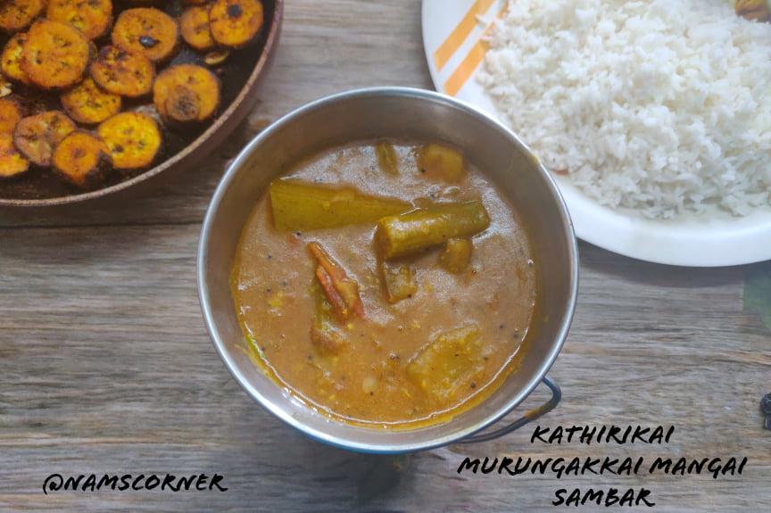 Kathirikai Murungakkai Mangai Sambar Recipe | Drumstick Brinjal Mango Sambar