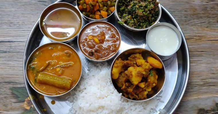 Veg Lunch Menu 4 | Weekend Lunch Menu | Sambar, vatha kuzhambu, Potato fry, carrot beans poriyal, Keerai poriyal