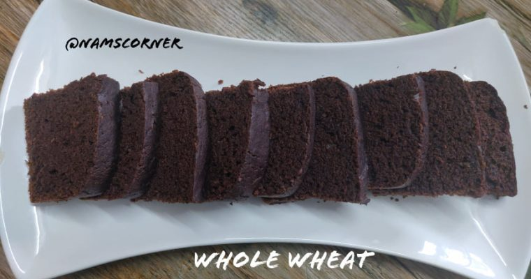 Whole Wheat Chocolate Cake Recipe | Eggless Chocolate Sponge Cake without oven