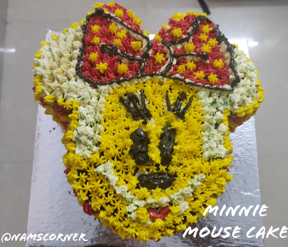 Minnie Mouse Cake Recipe   Minnie Mouse Cake with buttercream frosting   Kids Birthday Cake