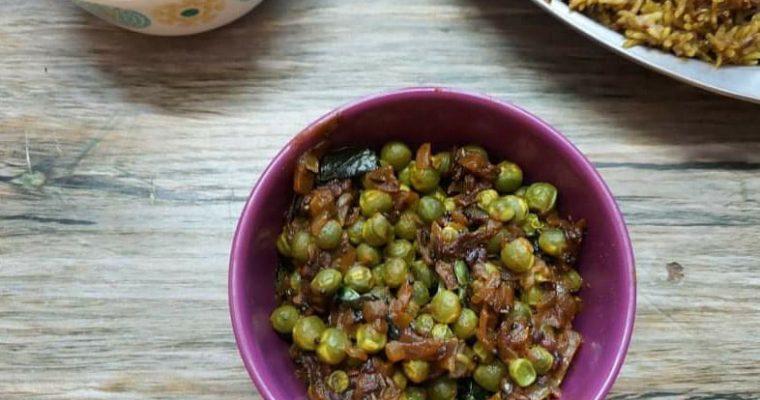Green peas poriyal | Green peas stir fry | Pachai Patani poriyal