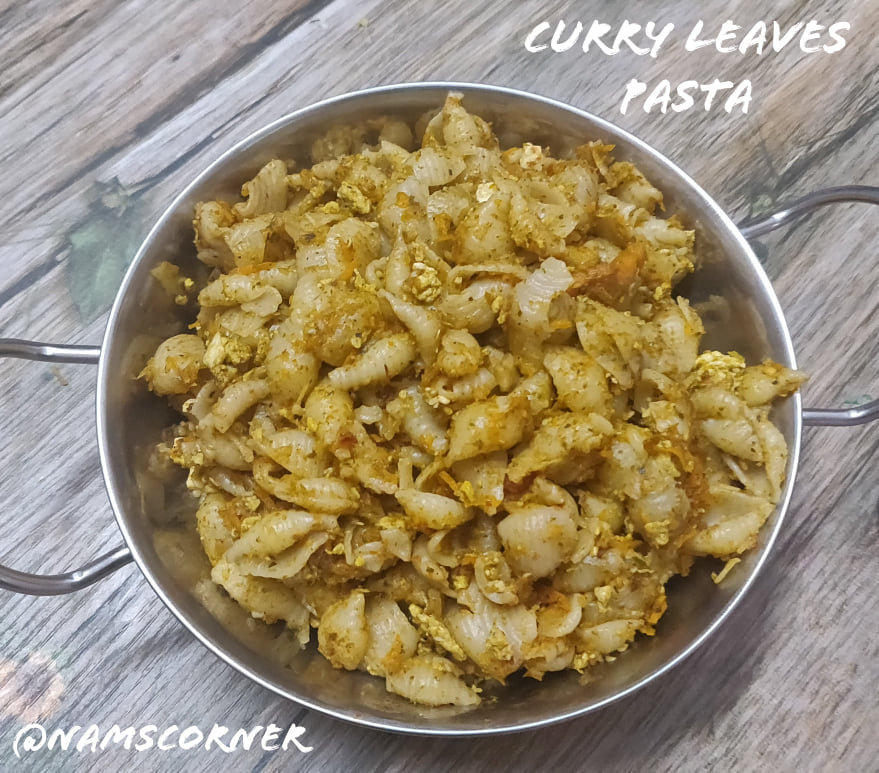 Curry Leaves Pasta Recipe | Indian style curry leaves shell pasta