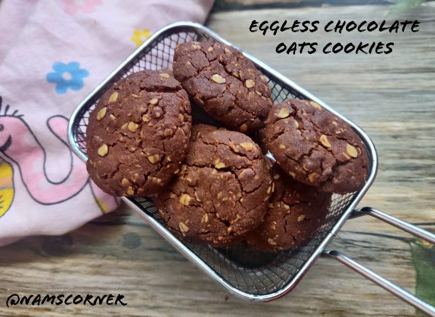 Eggless Chocolate Oats Cookies Recipe   Chocolate Oatmeal cookies in Air Fryer