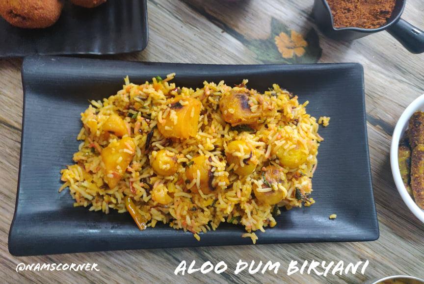 Aloo Dum Biryani Recipe   Potato Dum Biryani   Dum Aloo Biryani